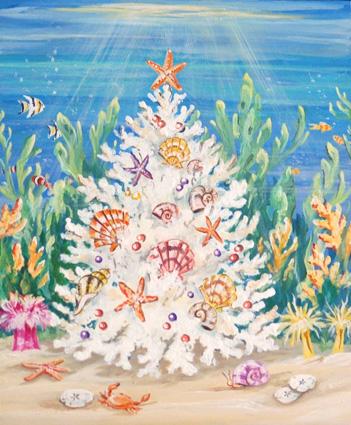 Coral Tree Christmas Card